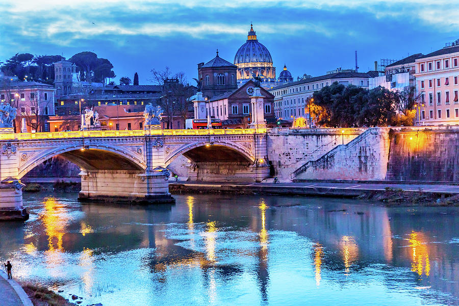 Architecture Photograph - Vatican Dome And Tiber River, Ponte by William Perry