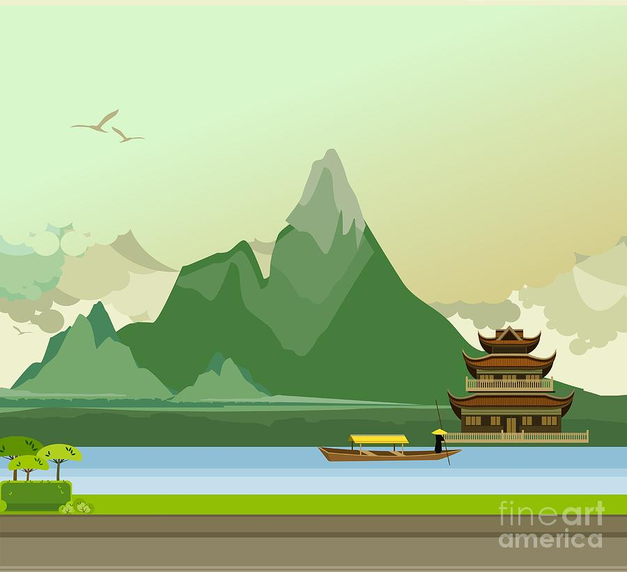 Building Digital Art - Vector Illustration Of An Old Buddhist by Marrishuanna