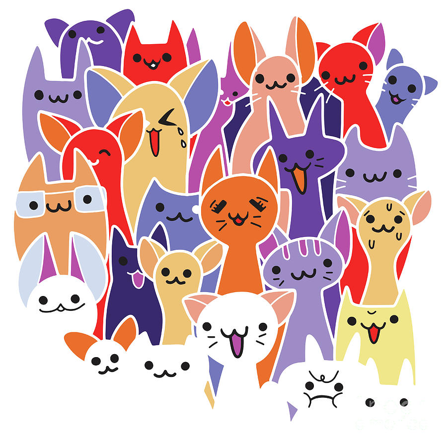 Vector Illustration With Cats A Lot Of Cartoon Cats Funny Cats Digital Art By Pakpong Pongatichat