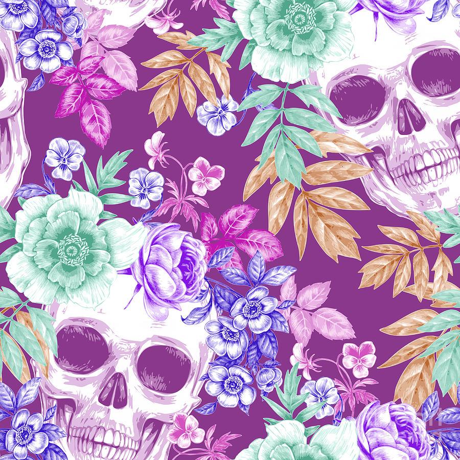 Symbol Digital Art - Vector Seamless Background. Wreaths Of by Mamita
