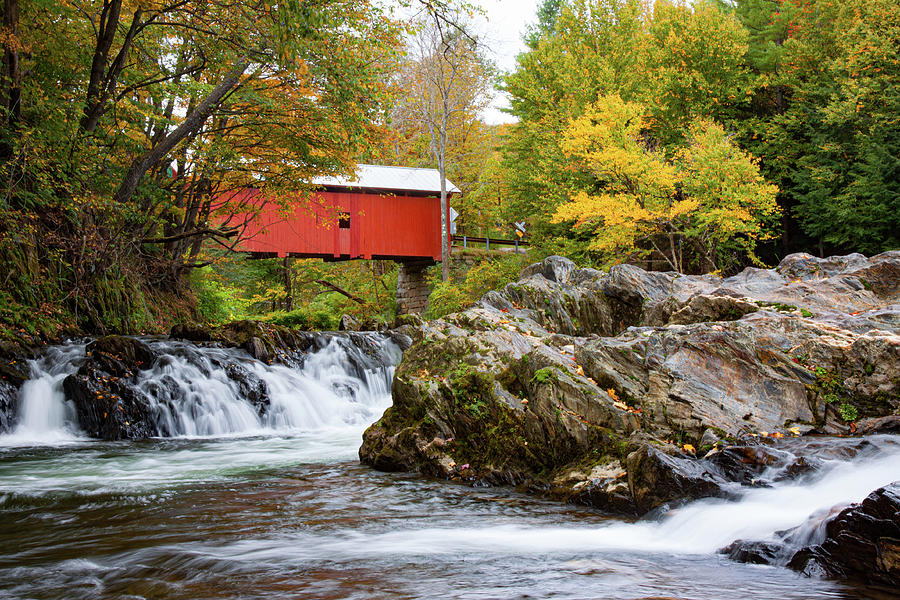 Vermont covered bridge in autumn by Jeff Folger