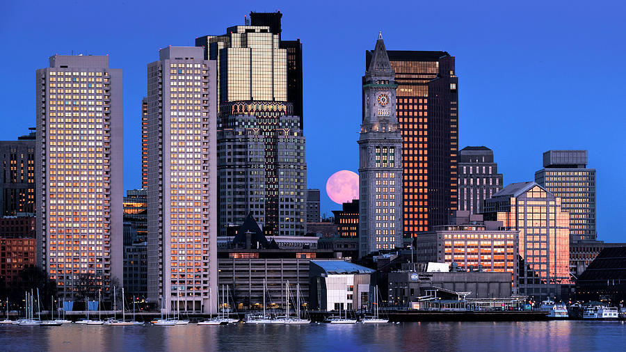 Vernal Equinox and the Worm Moon Over Boston by Thomas Gaitley