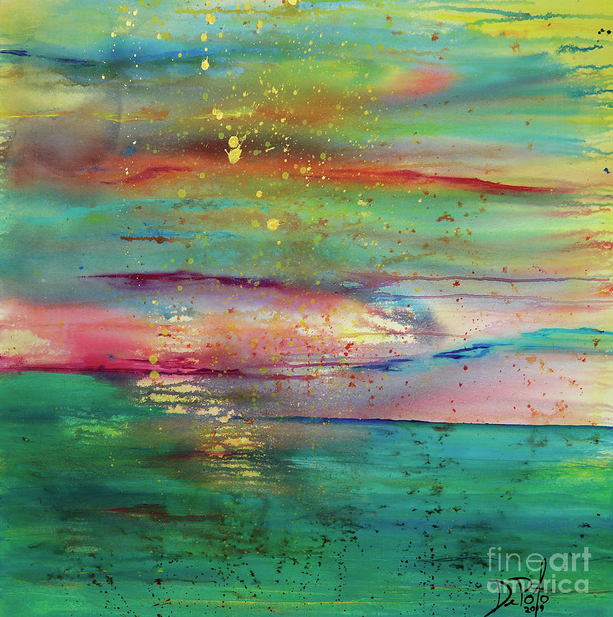 Abstract Painting - Vintage Sunset by JoAnn DePolo