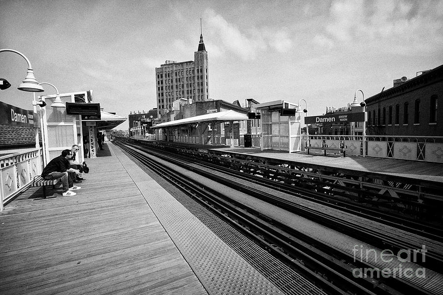 Chicago Photograph - view of the blue line L train station at Damen Chicago IL USA 1 by Joe Fox