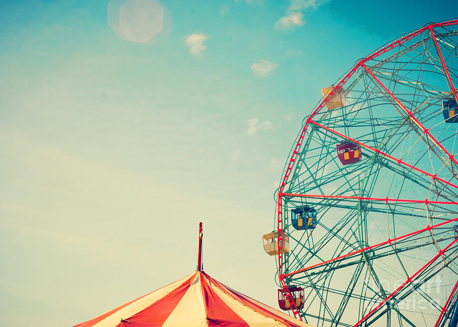 Happy Photograph - Vintage Colorful Ferris Wheel Over Blue by Andrekart Photography