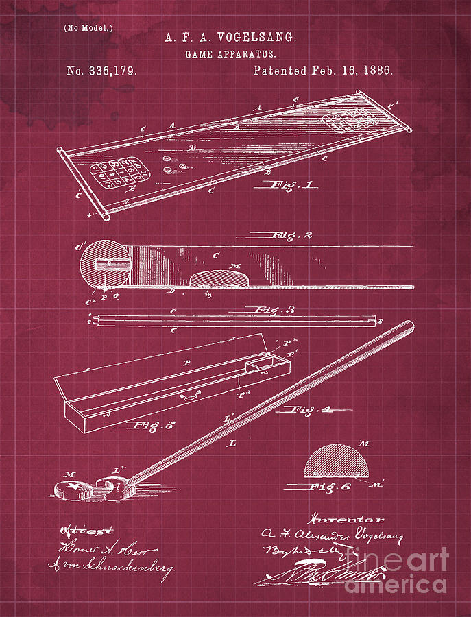 Vintage Game Apparatus Patent Year 1886 Drawing