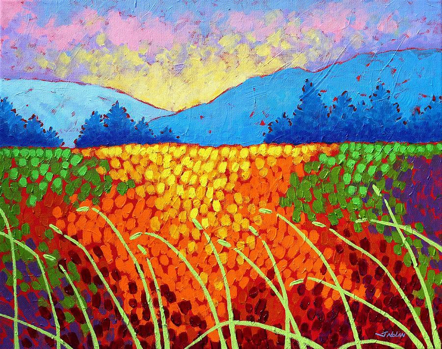 Acrylic Painting - Violet Hills  by John  Nolan