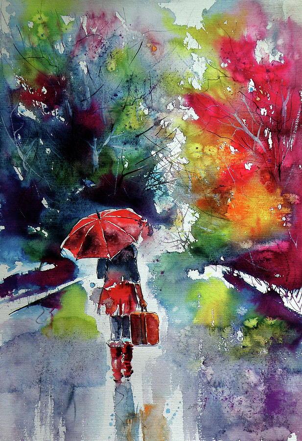 Girl Painting - Walk Alone 1 by Kovacs Anna Brigitta