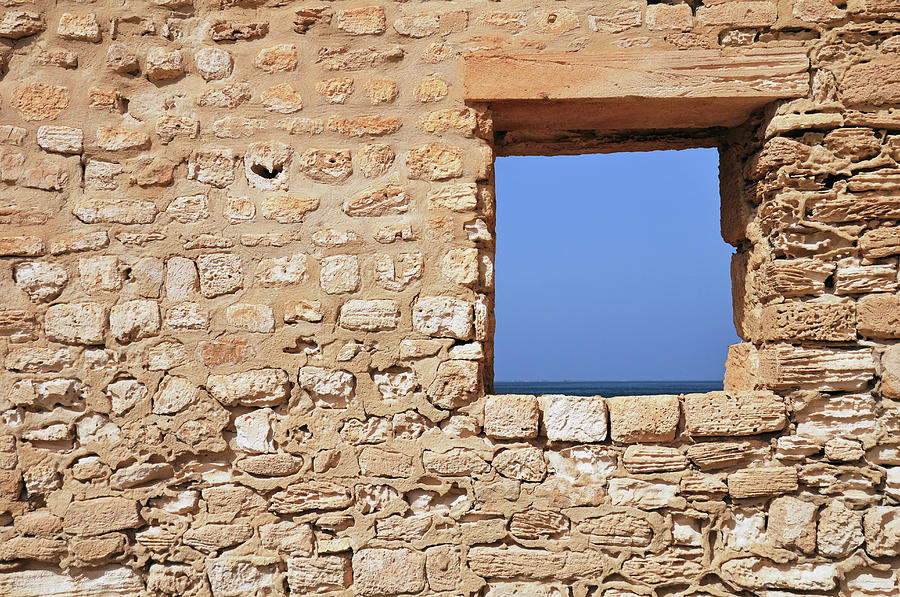 Wall With Window Framing Blue Seascape Photograph by Sami Sarkis