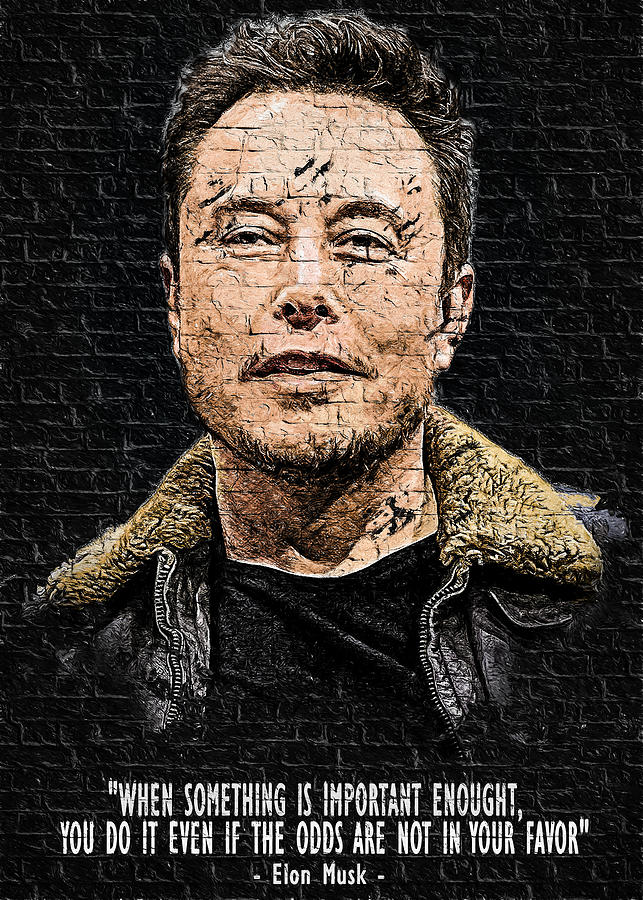 wallart elon musk quote digital art by zdenek moravek