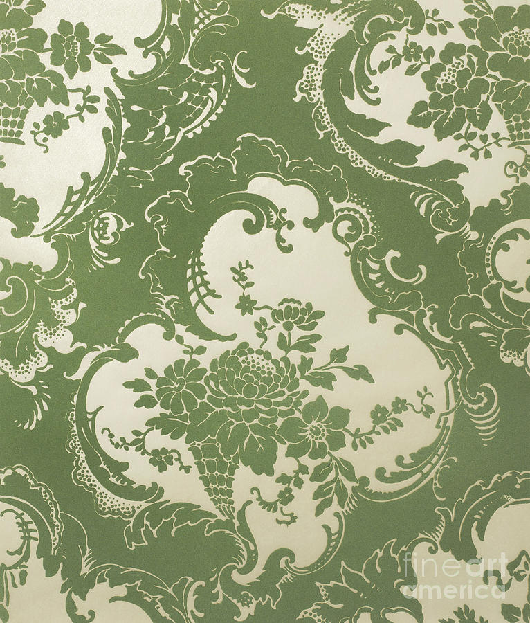 Wallpaper Sample, Vintage Textile Pattern by English School