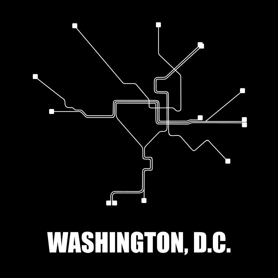 Washington Digital Art - Washington, D.c. Subway Map 1 by Naxart Studio