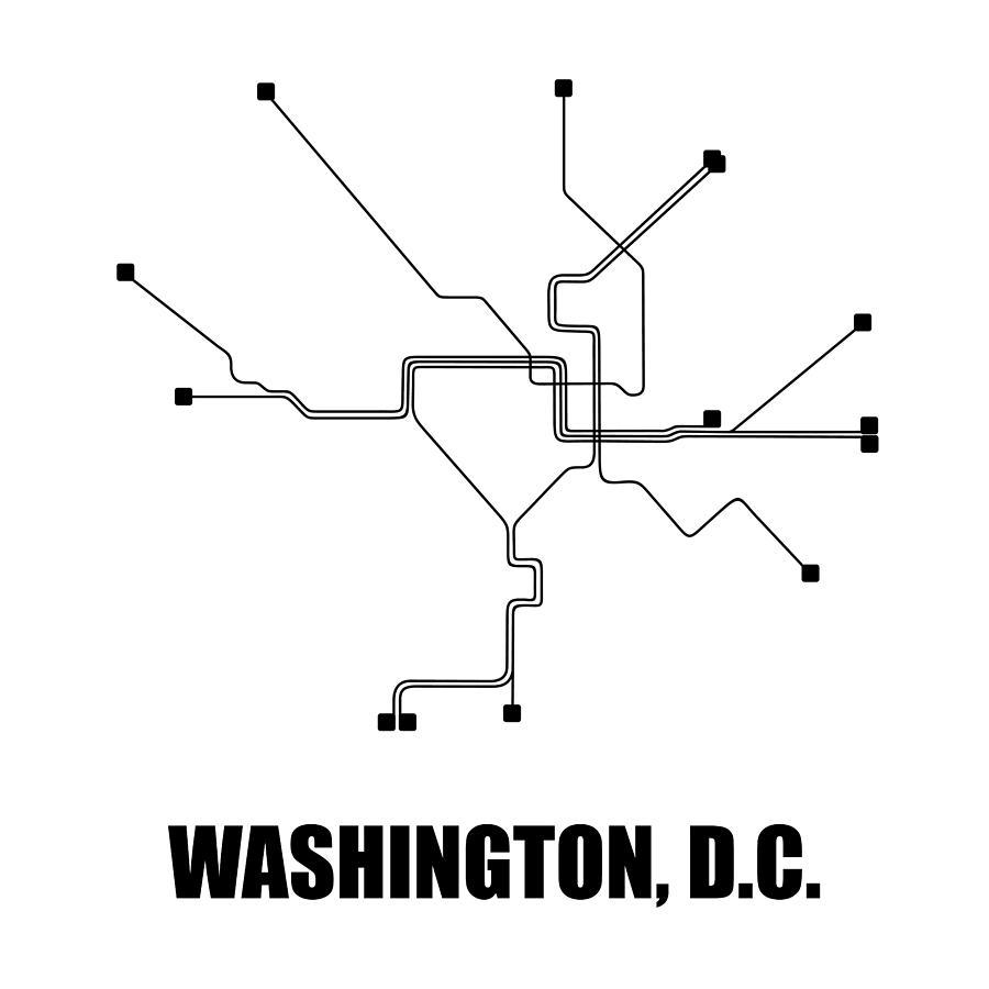 Washington Digital Art - Washington, D.c. White Subway Map by Naxart Studio