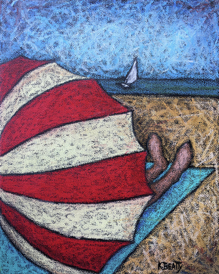Beach Painting - Watching the Sail by Karla Beatty
