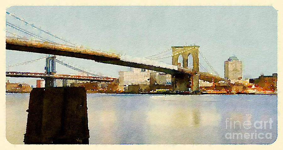 Seaport Digital Art - Water Color New York City Scene by Trentemoller