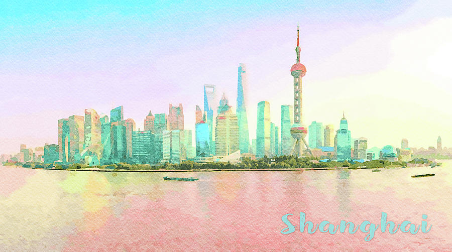 Water color of skyline of the city of Shanghai at sunset by Steven Heap
