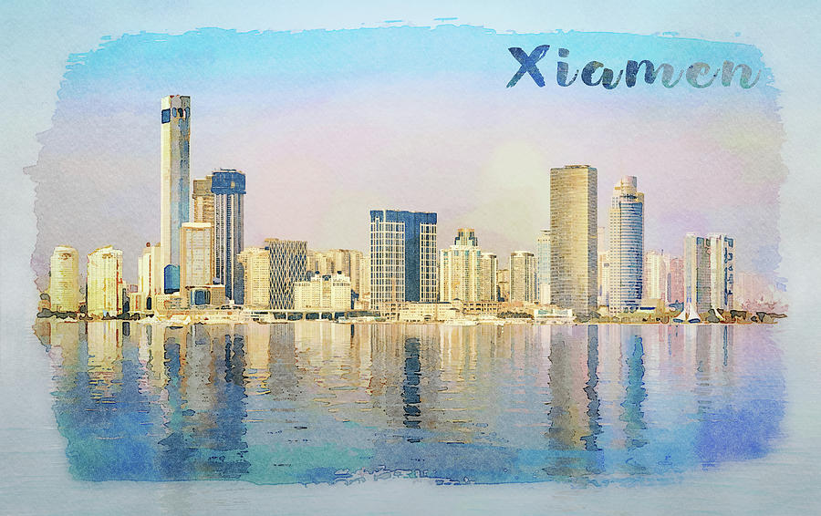 Water color of skyline of the city of Xiamen with reflections by Steven Heap