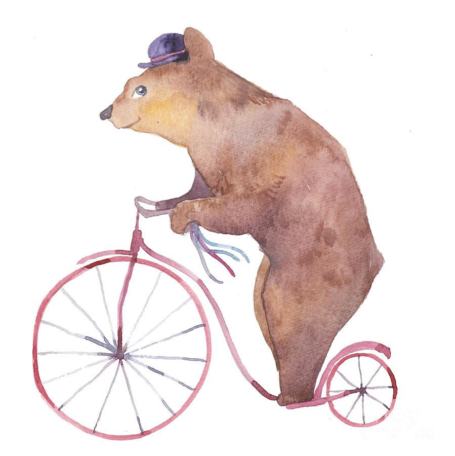 Magic Digital Art - Watercolor Cartoon Bear On Retro by Eisfrei