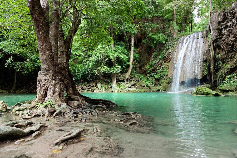Waterfall In Tropical Rainforest Photograph by Pidjoe