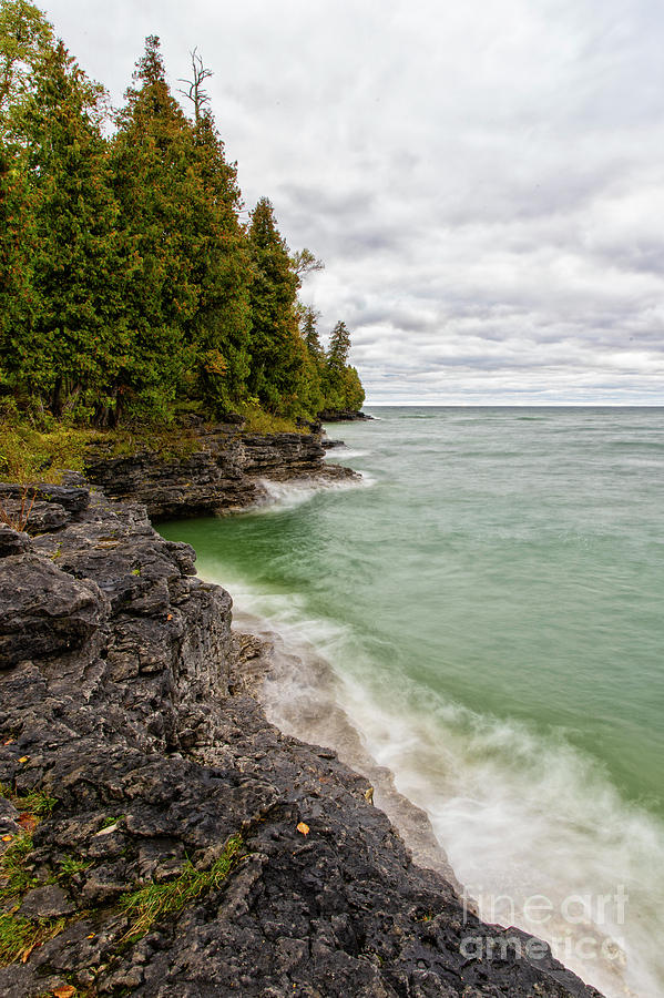 Waves Crashing at Cave Point Park Door County Wisconsin Lake Michigan Great Lakes Upper Midwest by Wayne Moran