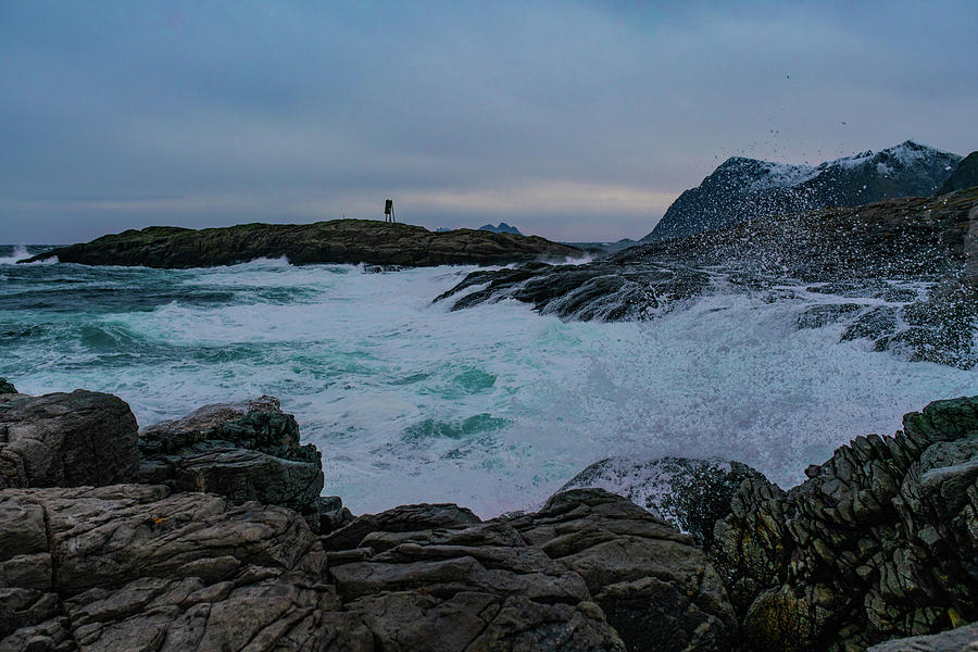 Sea Photograph - Waves Hitting The Rocks by Kai Mueller