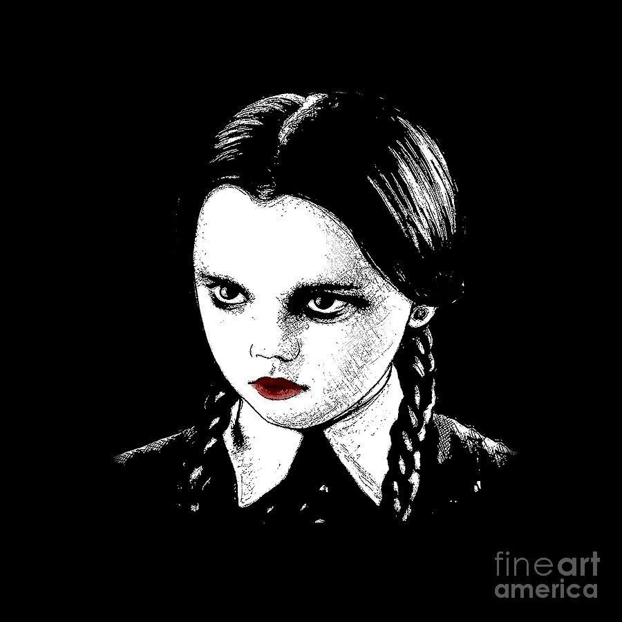 Wednesday Addams Digital Art - Wednesday Addams 1 by Valentina Hramov