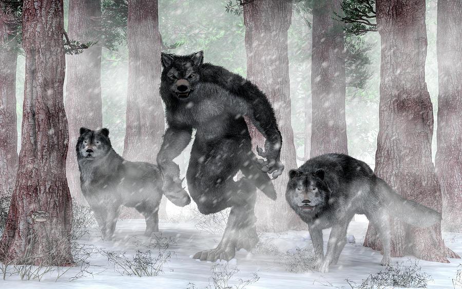 Werewolf Painting - Werewolf And Wolves by Daniel Eskridge