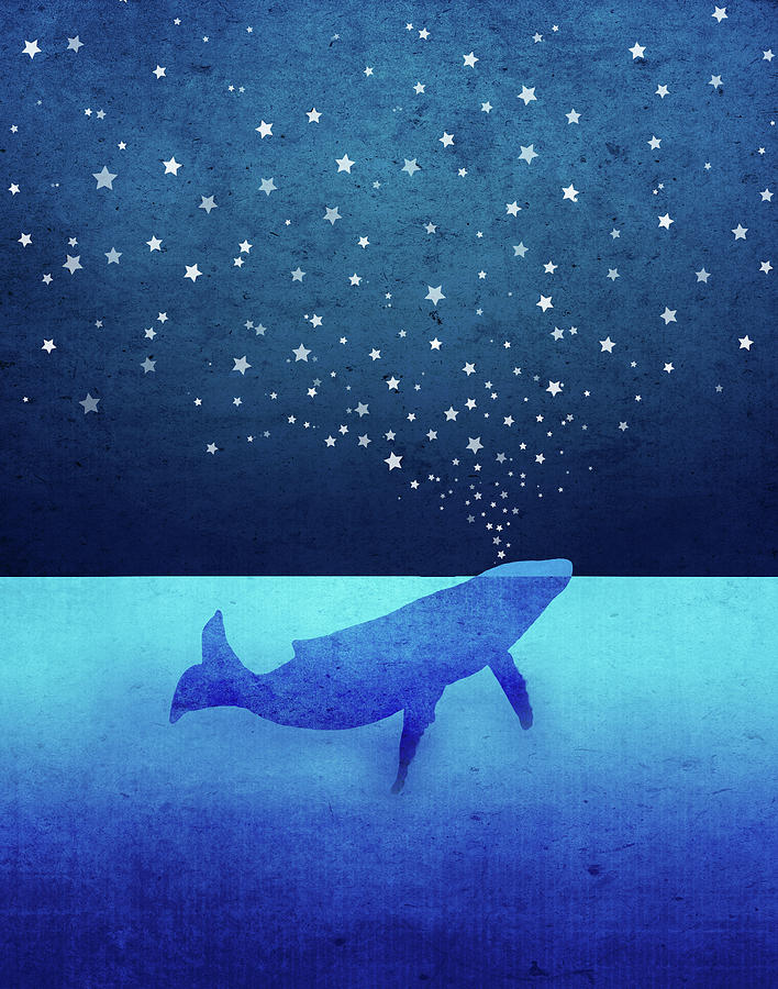 Whale Digital Art - Whale Spouting Stars by Laura Ostrowski