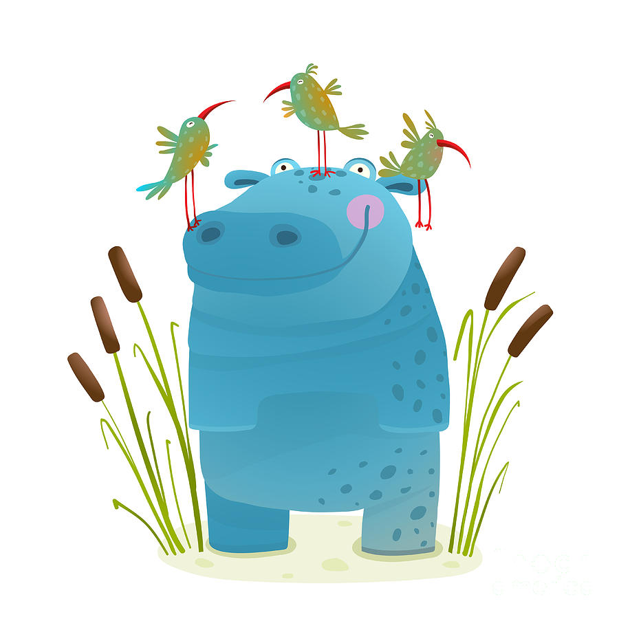 Pink Digital Art - Wildlife Hippo With Cute Birds Smiling by Popmarleo