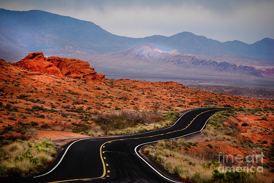 Winding road in Valley Of Fire by Les Palenik