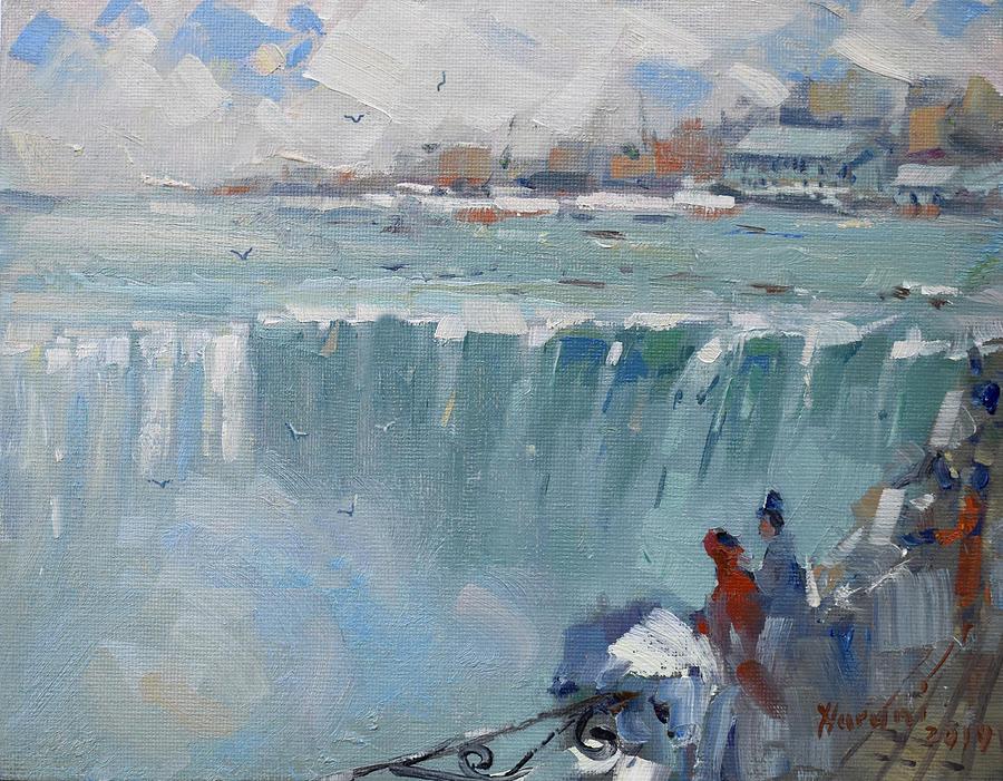 Niagara Falls Painting - Winter In Niagara Falls by Ylli Haruni