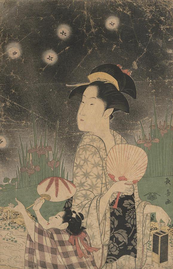 Woman and Child Catching Fireflies by Eishosai Choki