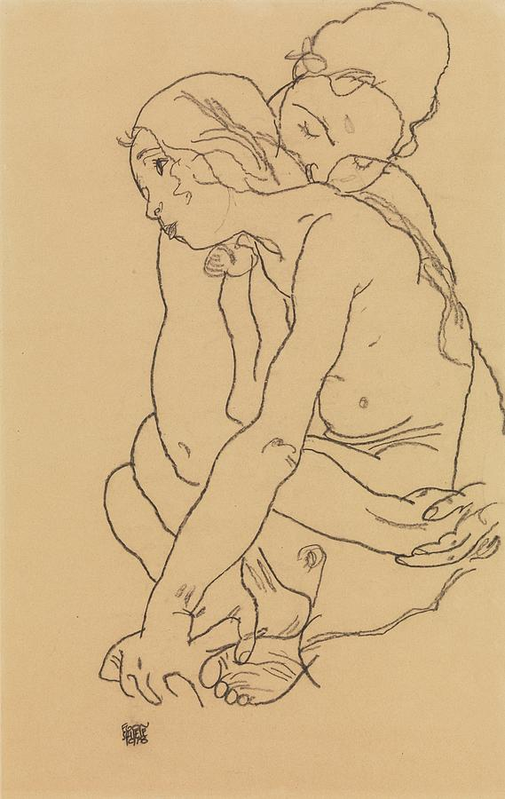Woman and Girl Embracing by Egon Schiele