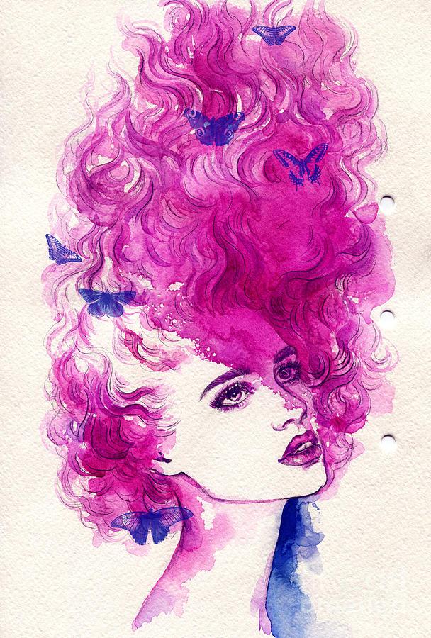 Beauty Digital Art - Woman Face Hand Painted Fashion by Anna Ismagilova