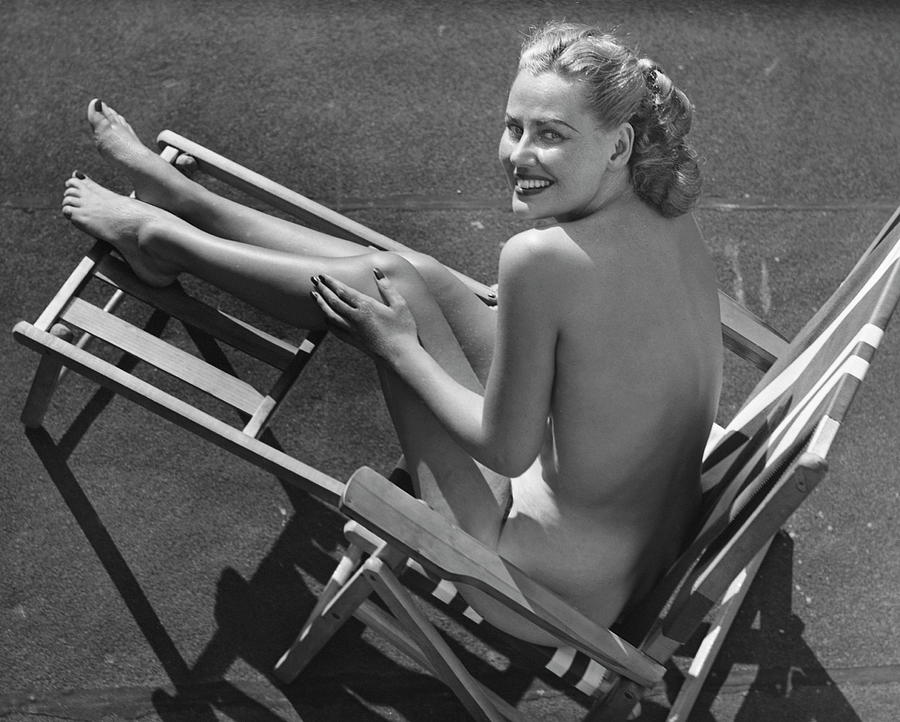 Woman In Beach Chair Photograph by George Marks