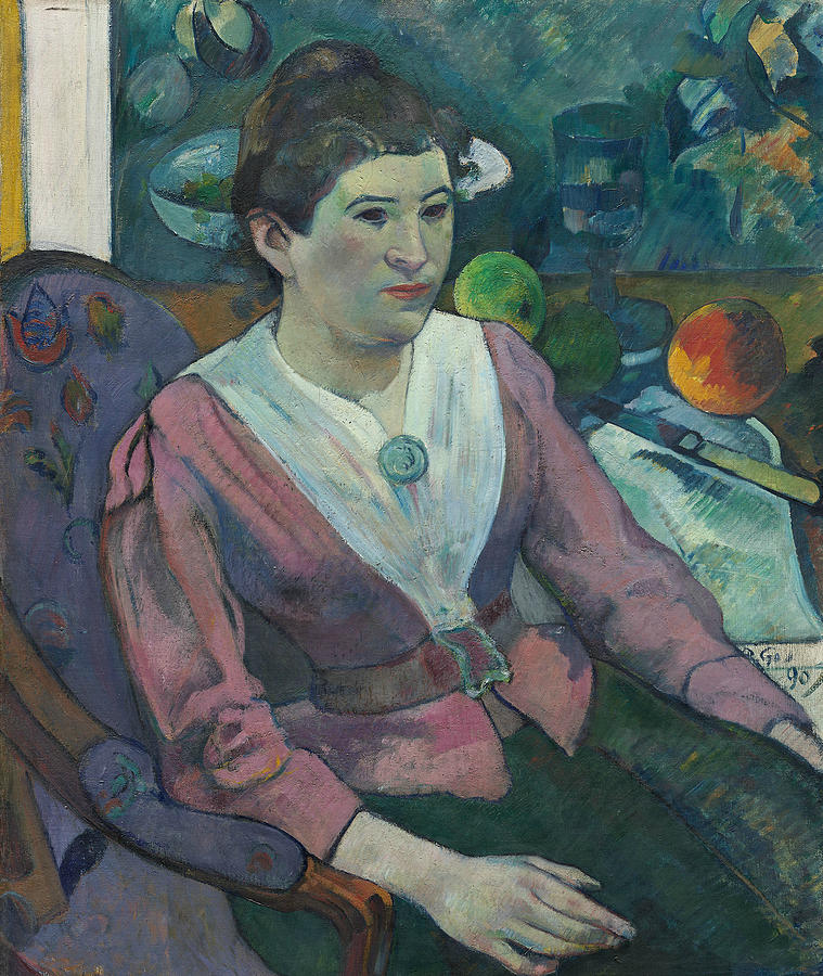 French Painters Painting - Woman In Front Of A Still Life By Cezanne by Paul Gauguin