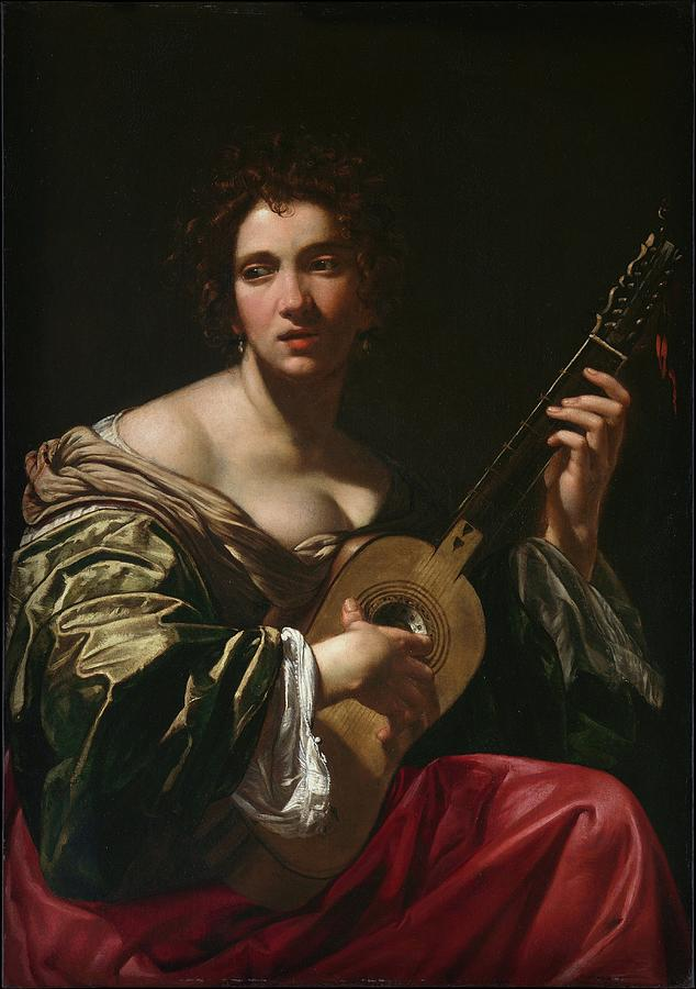 Woman Playing a Guitar by Simon Vouet