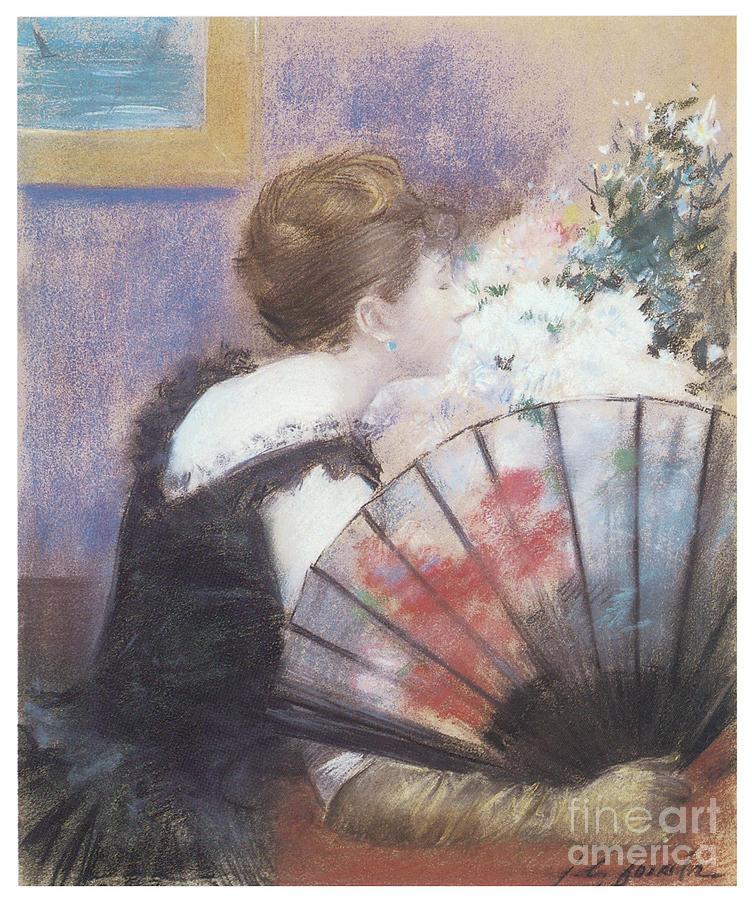 Woman Smelling Flowers by JEAN LOUIS FORAIN