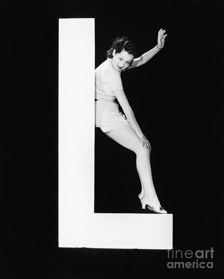 Big Photograph - Woman With Huge Letter L by Everett Collection