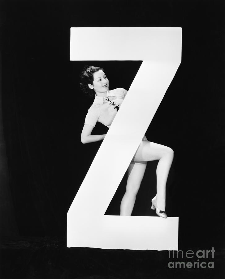 Behind Photograph - Woman With Huge Letter Z by Everett Collection