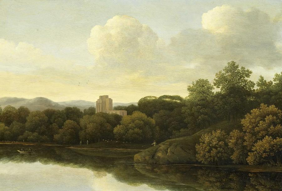 Nature Painting - Wooded Landscape With River, Johan De Lagoor Attributed To, 1645 - 1680 by Johan de Lagoor