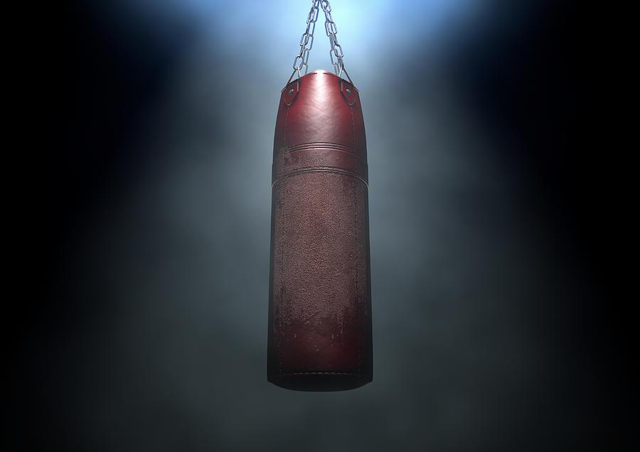 Bag Digital Art - Worn Leather Punching Bag by Allan Swart
