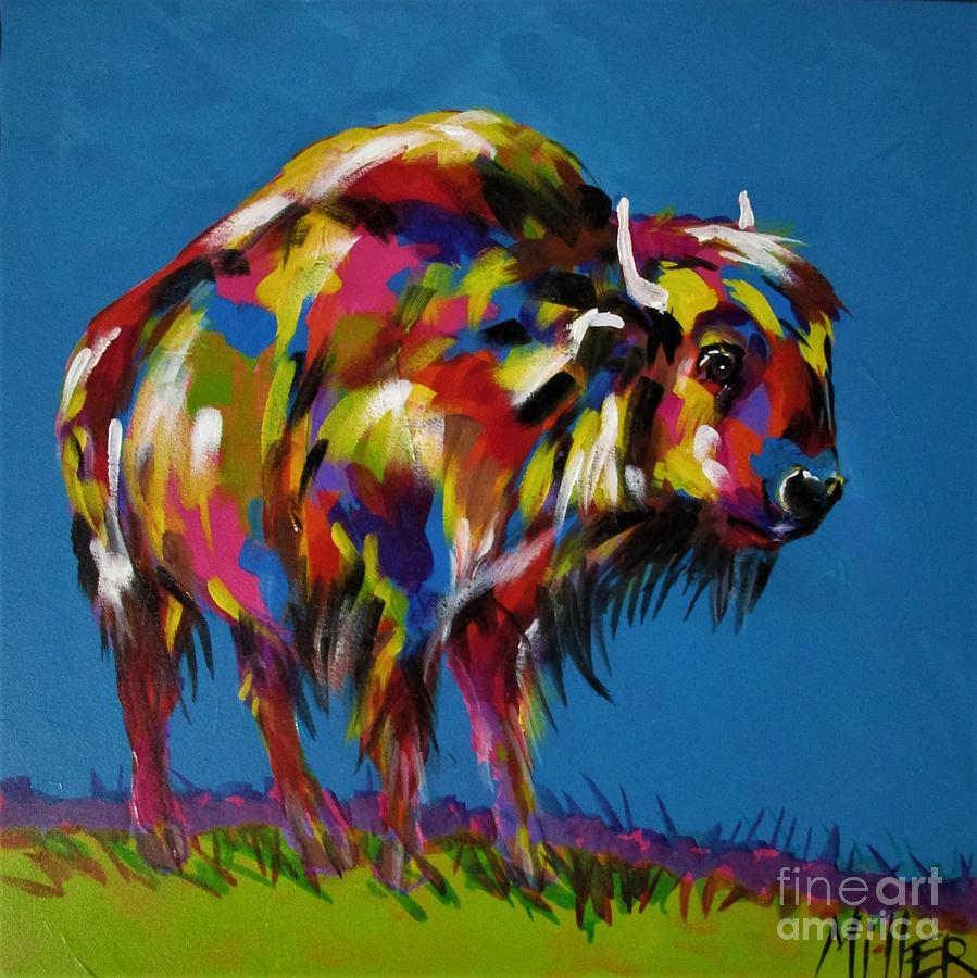 Bison Painting - Yellowstone Bison by Tracy Miller