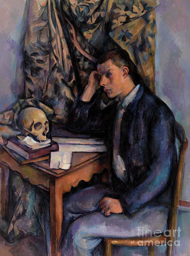 Interior Painting - Young Man And Skull by Paul Cezanne