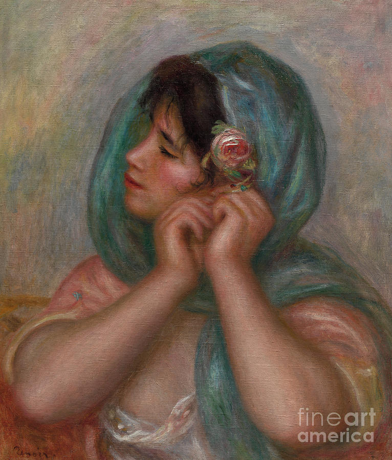 Female Painting - Young Woman Arranging Her Earring, 1905 by Pierre Auguste Renoir