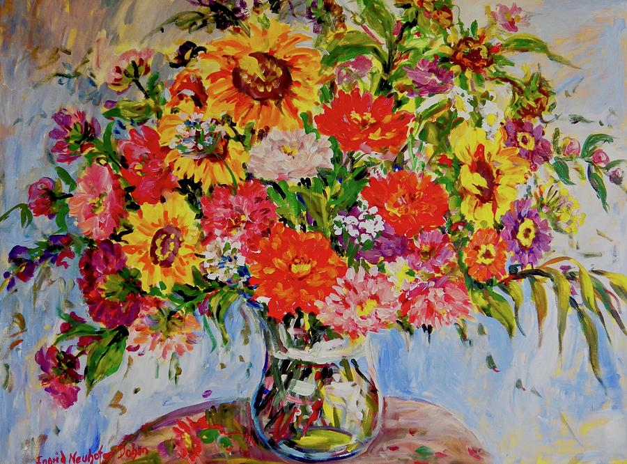 Zinnias and Sunflowers by Ingrid Dohm