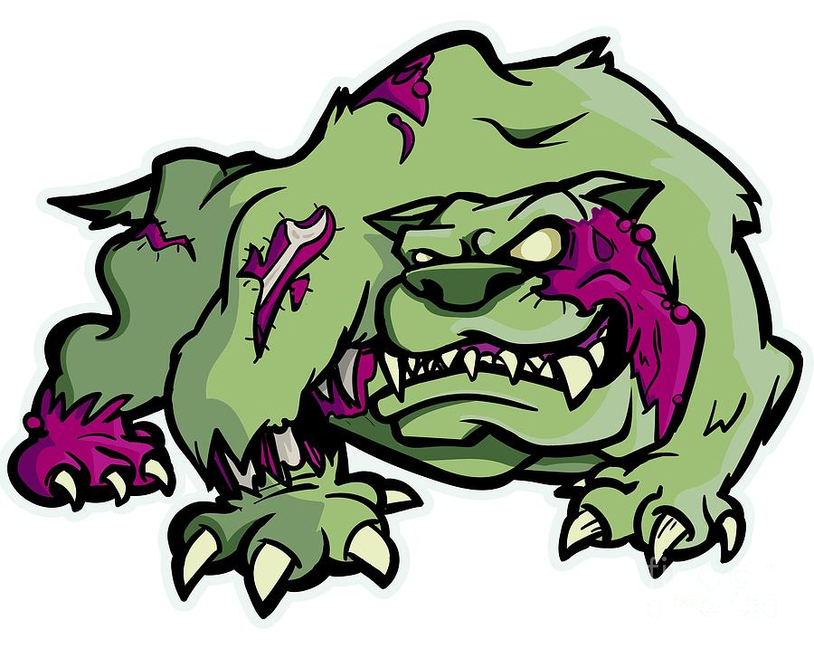 Zombie Dog English Bulldog Halloween Horror Digital Art By Mister