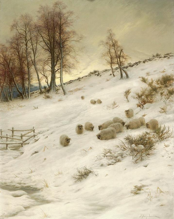 Joseph Farquharson Painting - A Flock Of Sheep In A Snowstorm  by Joseph Farquharson