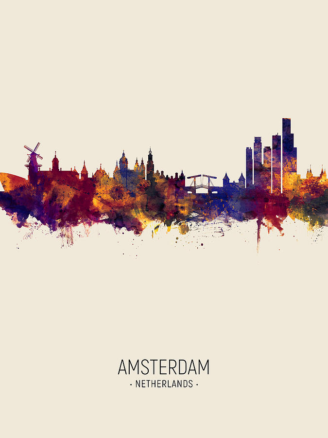 Amsterdam The Netherlands Skyline by Michael Tompsett