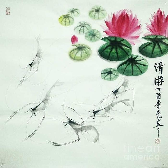 Shrimps in Clear Lotus Pond by LI LIANG